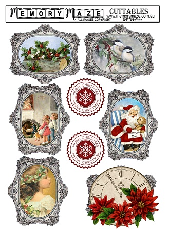 Christmas & vintage ephemera& Vintage frames, cuttable,tags. min